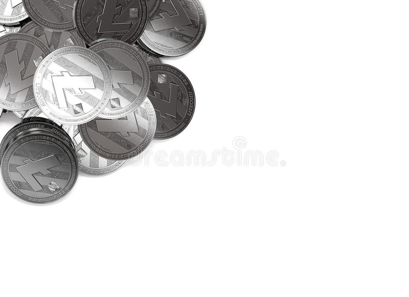 Pila di Litecoins d'argento nell'angolo superiore sinistro isolato su bianco e sullo spazio della copia per il vostro testo illustrazione vettoriale
