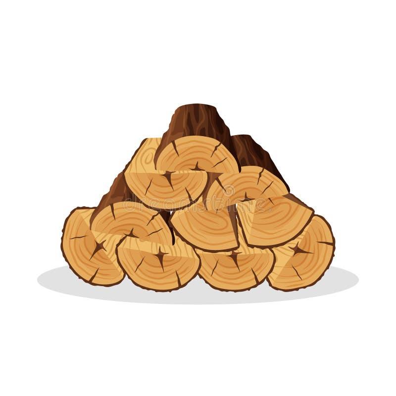 Pila di materiali della legna da ardere per industria del legname isolati su fondo bianco Mucchio del tronco di albero di legno d illustrazione vettoriale