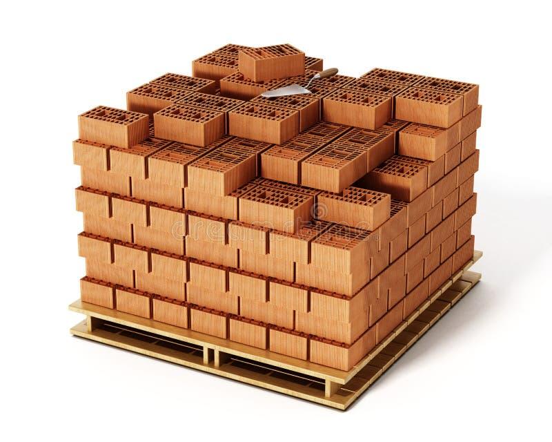 Pila di mattoni su fondo bianco illustrazione 3D illustrazione di stock
