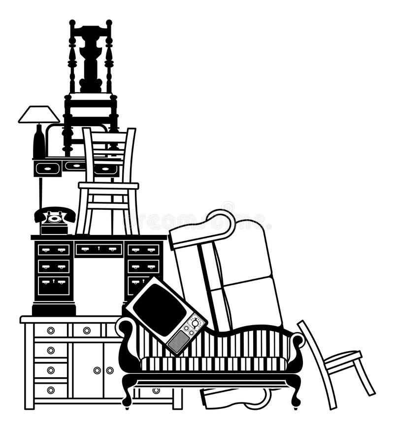 Pila di mobilia illustrazione di stock