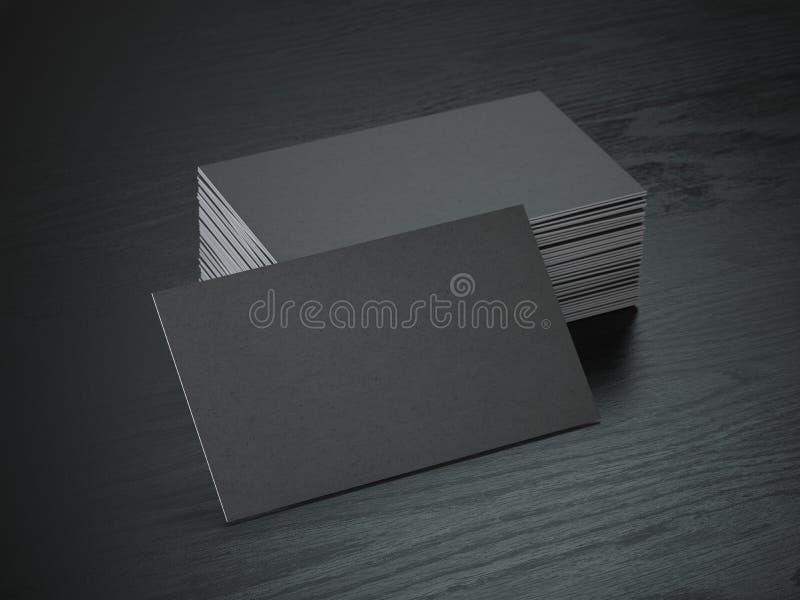 Pila di modello in bianco nero dei biglietti da visita sulla tavola di legno nera b illustrazione vettoriale