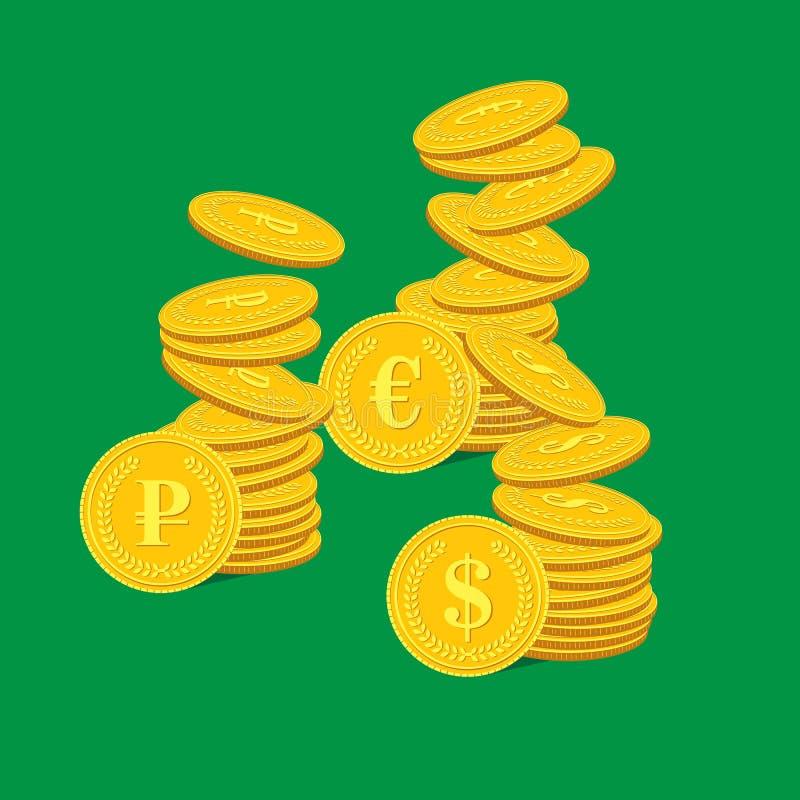 Pila di monete, di euro e di rubli del dollaro fotografie stock
