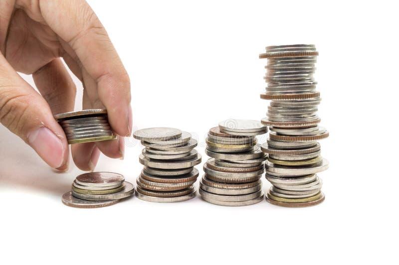 Pila di monete dorate immagini stock libere da diritti