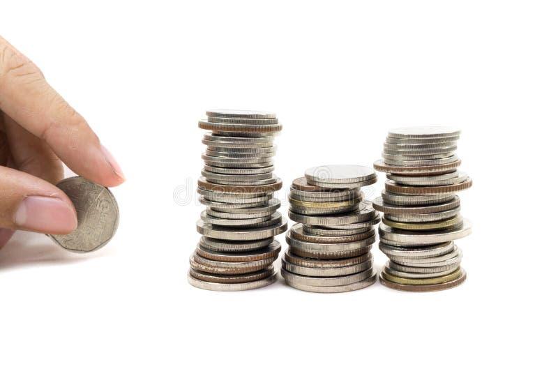 Pila di monete dorate fotografie stock libere da diritti