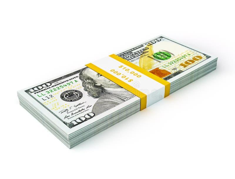 Pila di nuovi nuovi 100 dollari americani 2013 di banconote dell'edizione (fatture) s fotografia stock libera da diritti