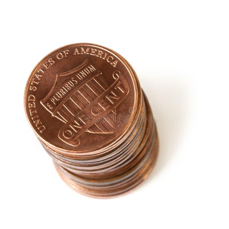 Pila di penny immagine stock