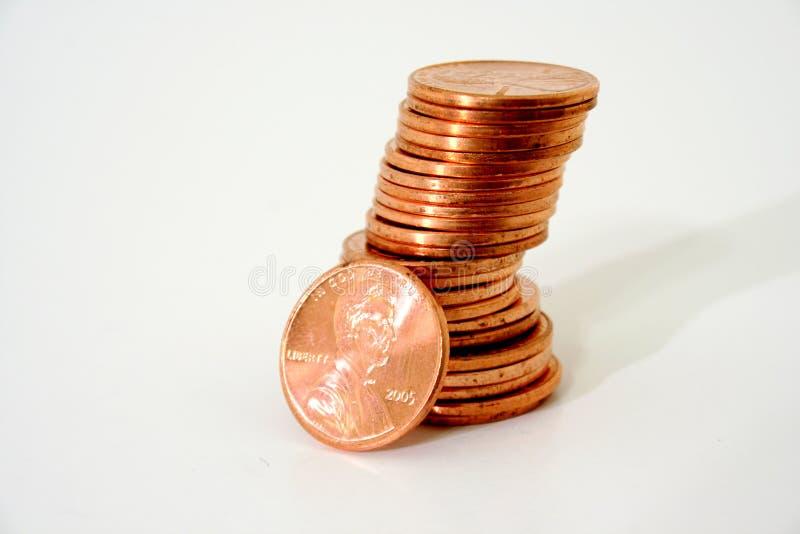 Pila di penny fotografia stock