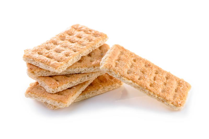 Pila di primo piano dolce dei biscotti di Galette isolato su fondo bianco fotografia stock libera da diritti