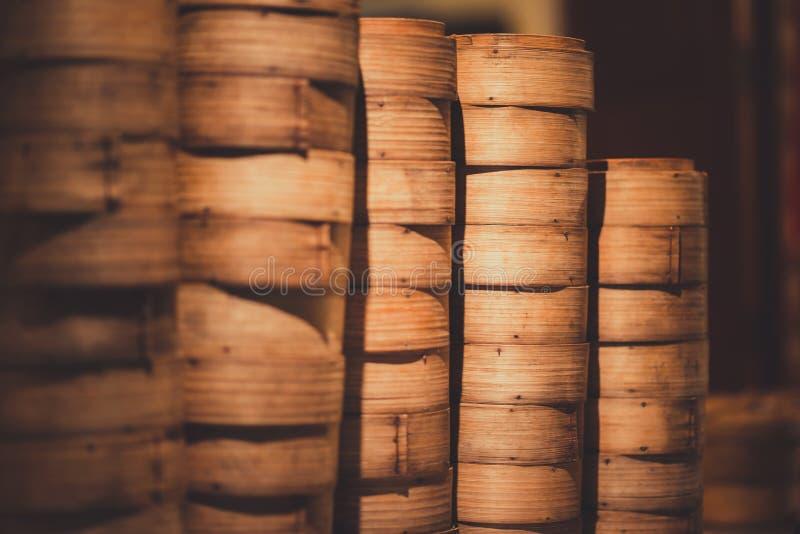 Pila di riso di bambù fotografia stock