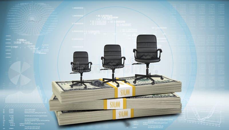 Pila di soldi con tre sedie dell'ufficio sulla cima illustrazione vettoriale