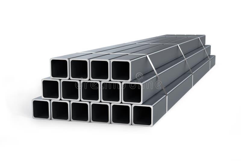 Pila di tubi quadrati isolati su fondo bianco fotografia stock