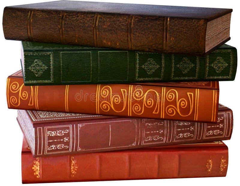 Pila di vecchi libri di lettura, isolata, illustrazione immagine stock