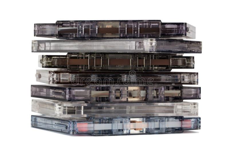 Pila di vecchie audio cassette fotografia stock