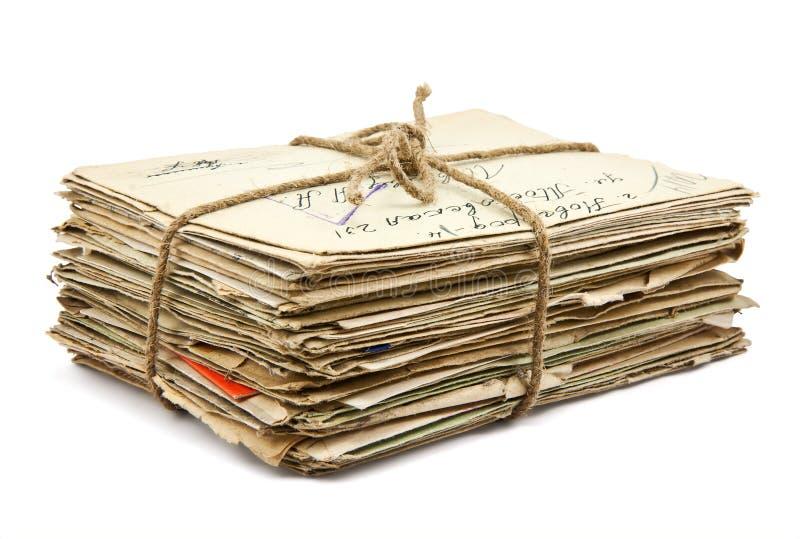 Pila di vecchie lettere fotografia stock