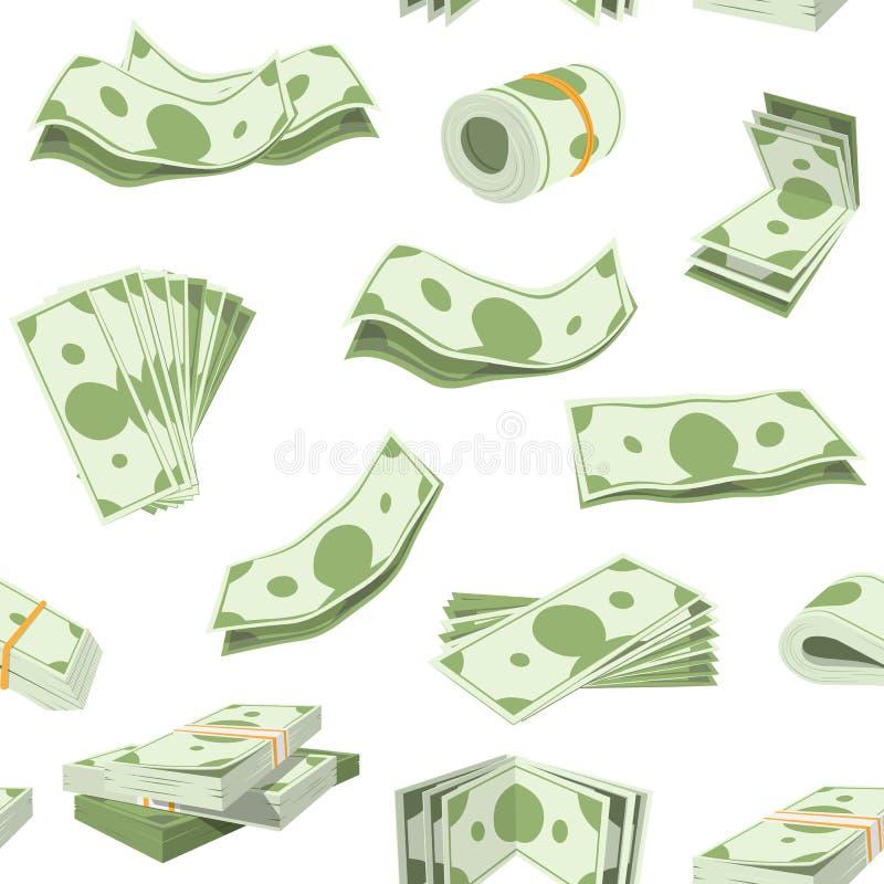 Pila di vettore dei soldi di contanti di valuta o del dollaro monetari nelle attività bancarie moneysaving e finanziarie della ba illustrazione vettoriale