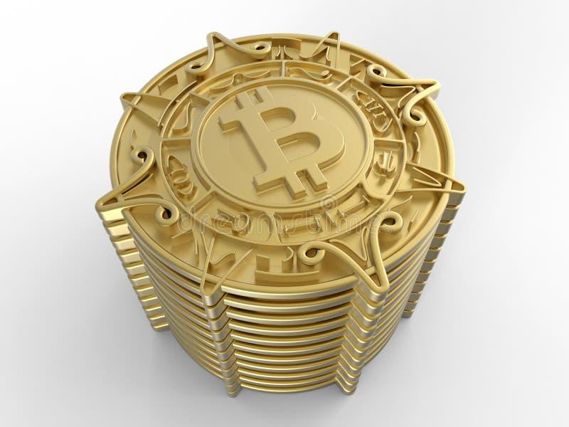 pila dorata del bitcoin 3D illustrazione di stock