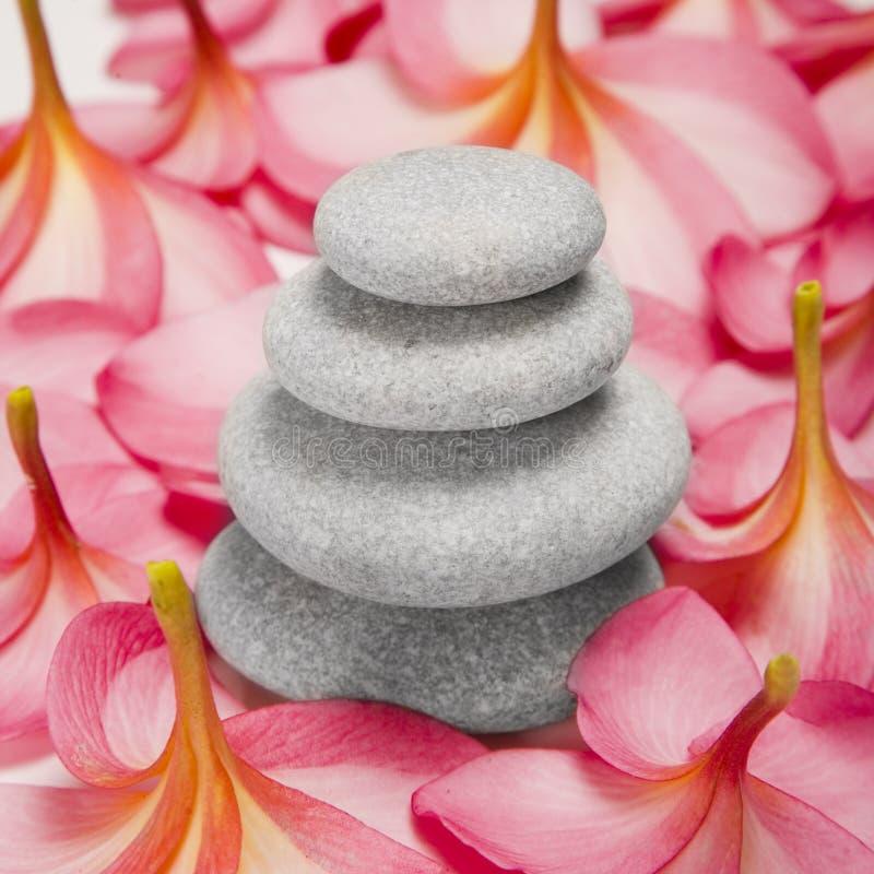 Pila e fiori del ciottolo fotografie stock