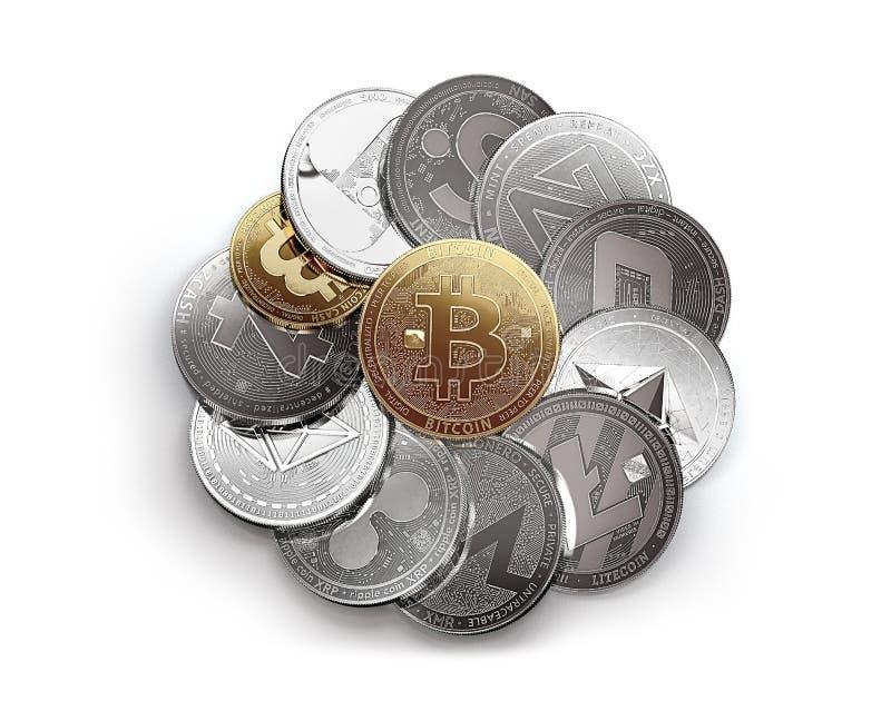 Pila enorme di cryptocurrencies differenti isolata su fondo bianco con un bitcoin dorato sulla cima illustrazione vettoriale