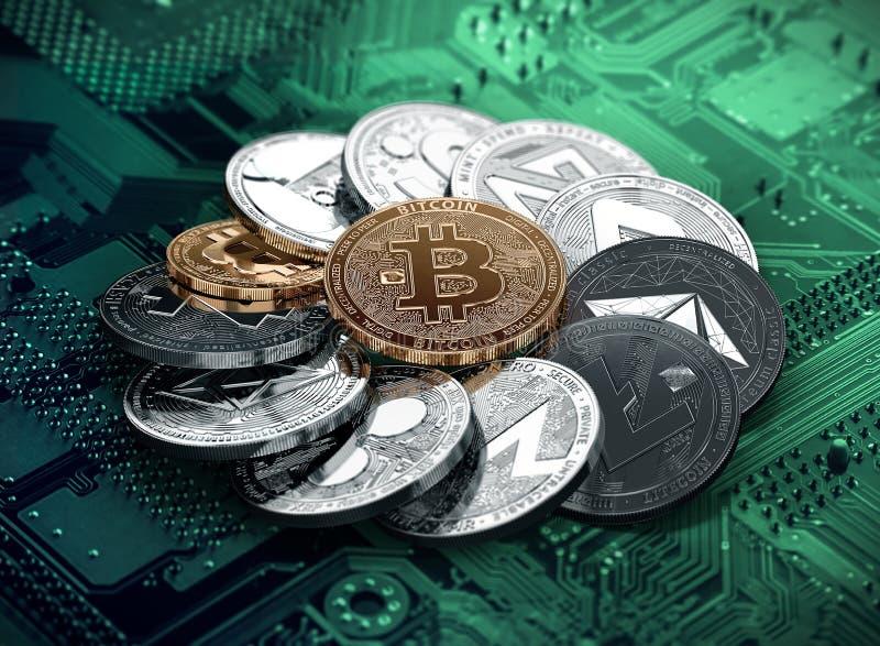 Pila enorme di cryptocurrencies in un cerchio con un bitcoin dorato nel mezzo illustrazione vettoriale