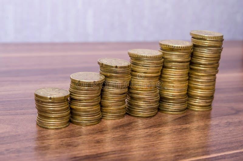 Pila euro de oro de las monedas foto de archivo