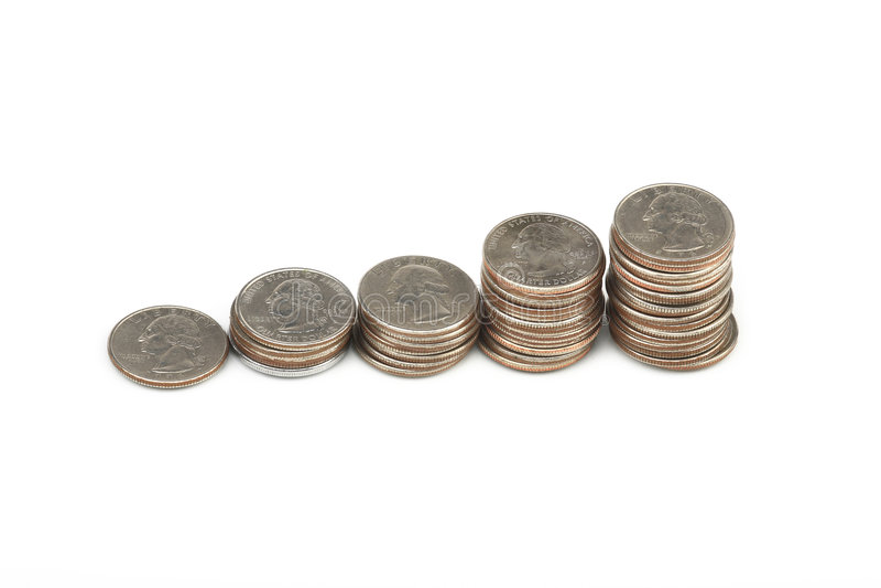 Pila gráfica de monedas imágenes de archivo libres de regalías
