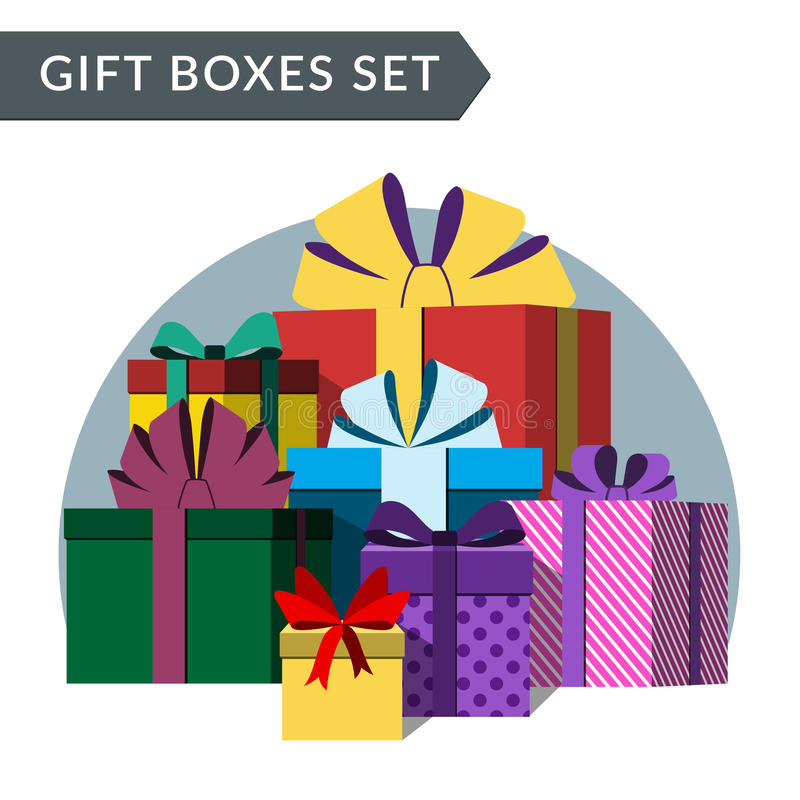 Pila grande de cajas de regalo coloridas ilustración del vector