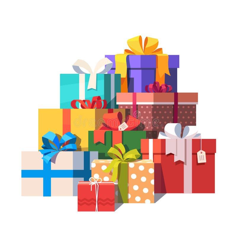 Pila grande de cajas de regalo envueltas coloridas ilustración del vector