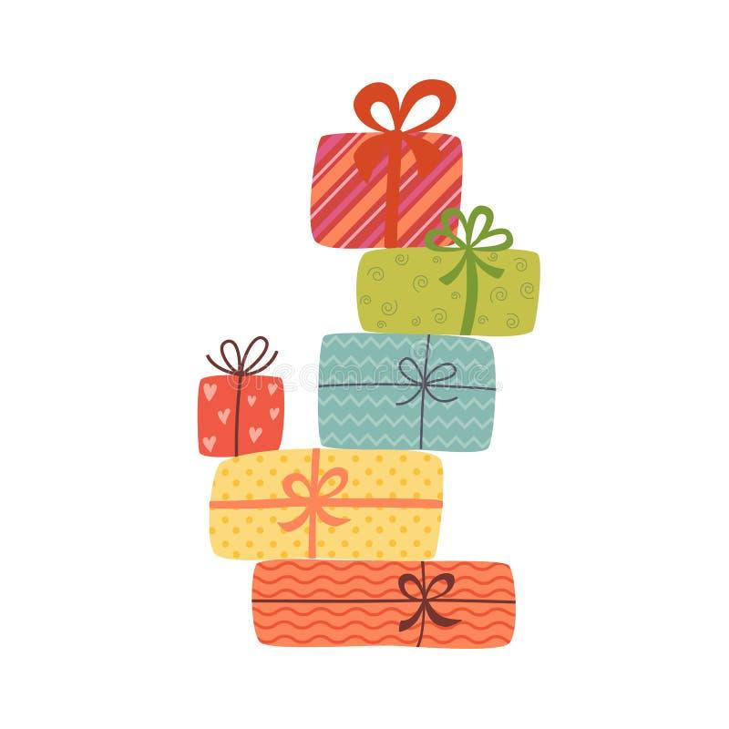 Pila grande de cajas de regalo envueltas coloridas Porciones de presentes libre illustration