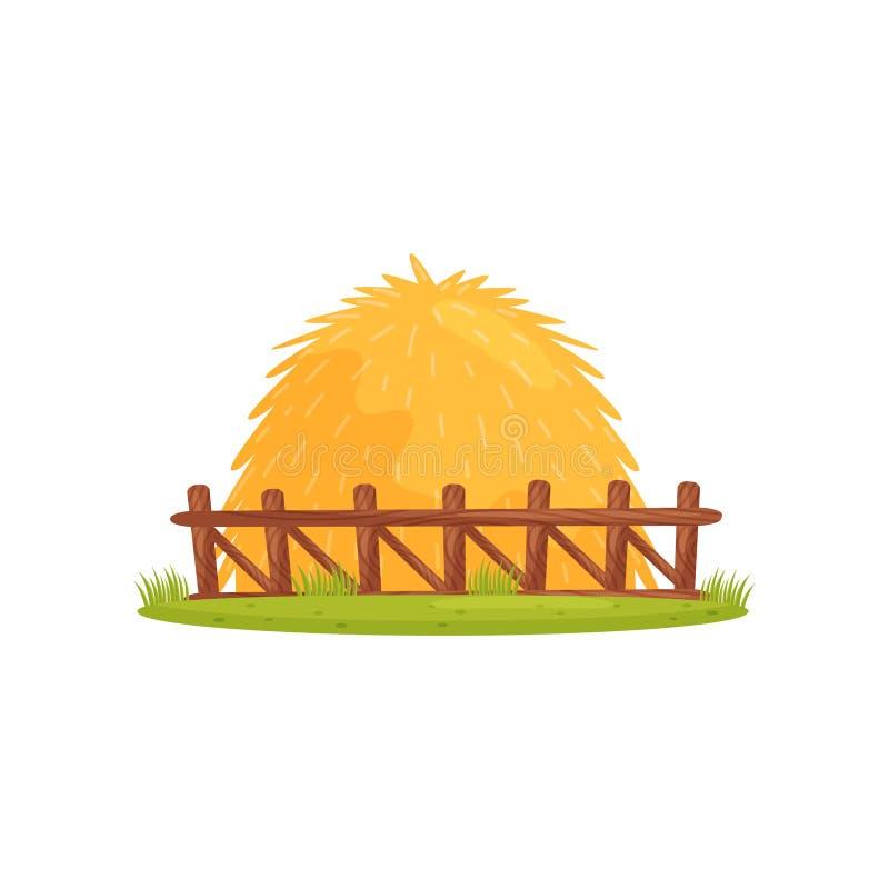 Pila grande de heno seco detrás de la cerca de madera Tema de la granja Diseño del vector de la historieta para el libro de niños libre illustration