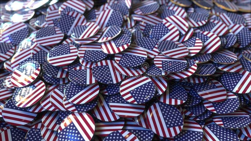 Pila grande de insignias que ofrecen las banderas de los Estados Unidos representación 3d fotografía de archivo libre de regalías