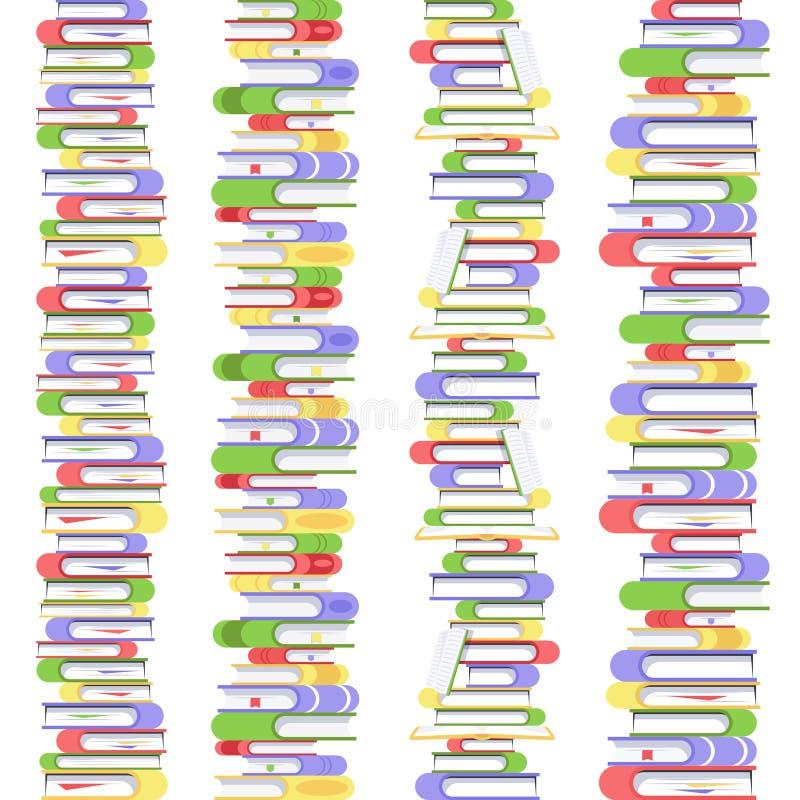 Pila inconsútil recta vertical de libros Libros de texto en cubiertas coloridas Colección de libros y de documentos de la lectura ilustración del vector