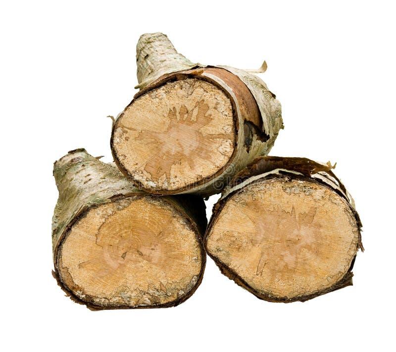 Pila isolata di legno fotografia stock libera da diritti