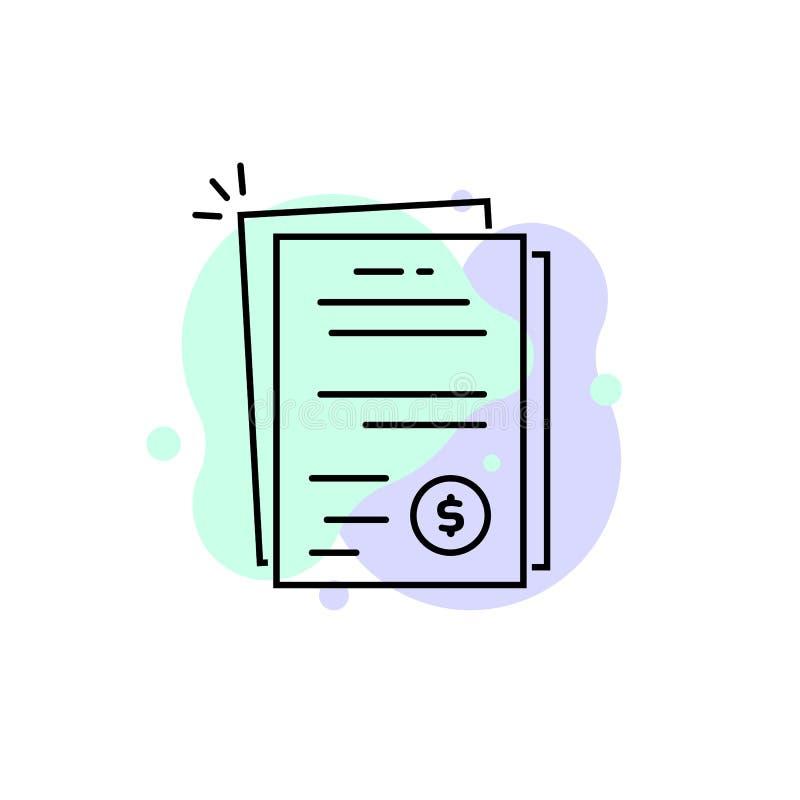 Pila linear de documento de la cuenta o de la factura stock de ilustración