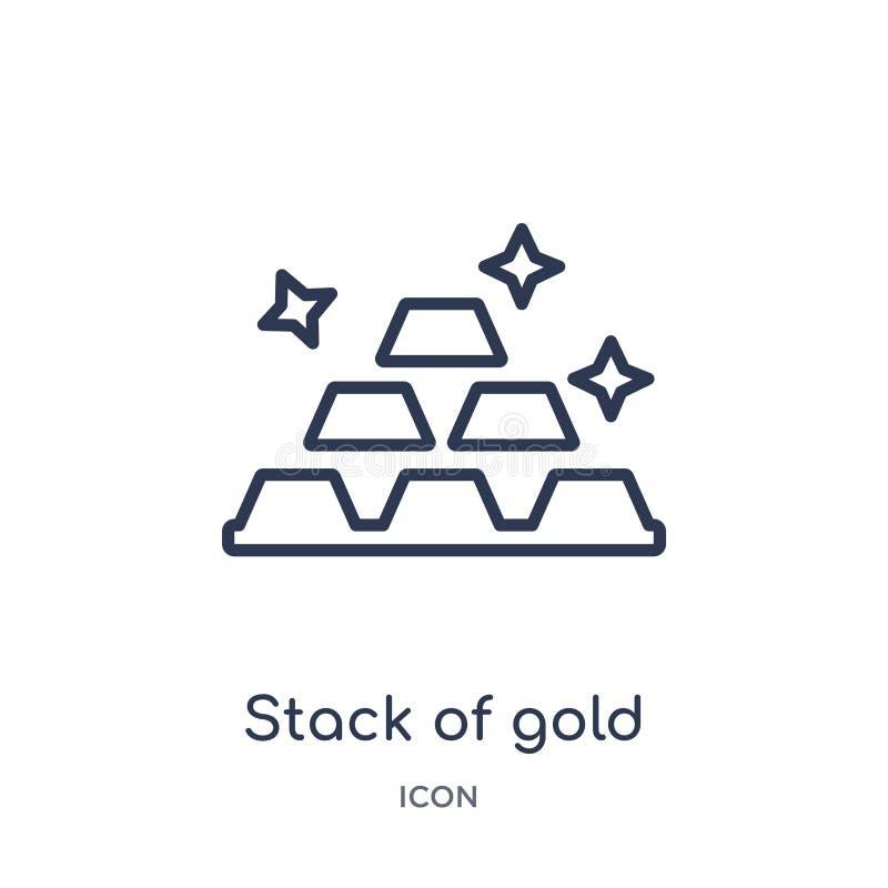 Pila lineare di icona dell'oro dalla raccolta del profilo di affari Linea sottile pila di icona dell'oro isolata su fondo bianco  illustrazione vettoriale
