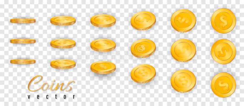 Pila realista de monedas de oro aisladas en fondo transparente Ilustración del vector ilustración del vector