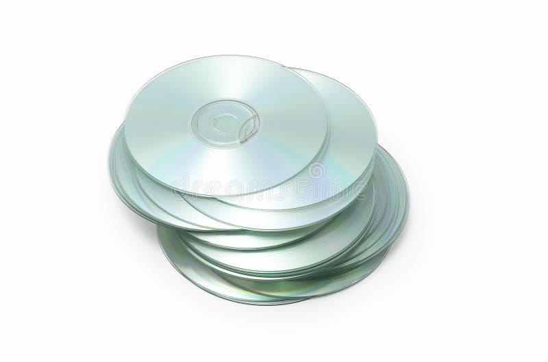 Pila realmente sudicia di dischi CD su bianco immagine stock