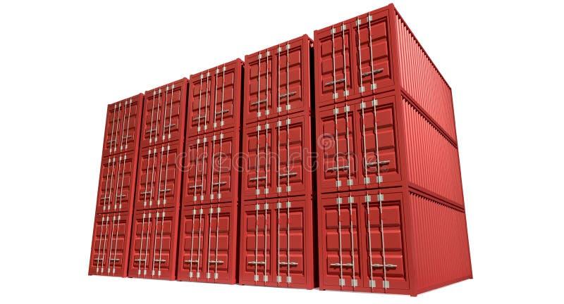 Pila rossa del container illustrazione vettoriale