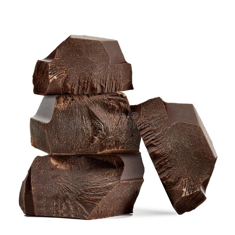 Pila rotta dei blocchetti del cioccolato fotografia stock