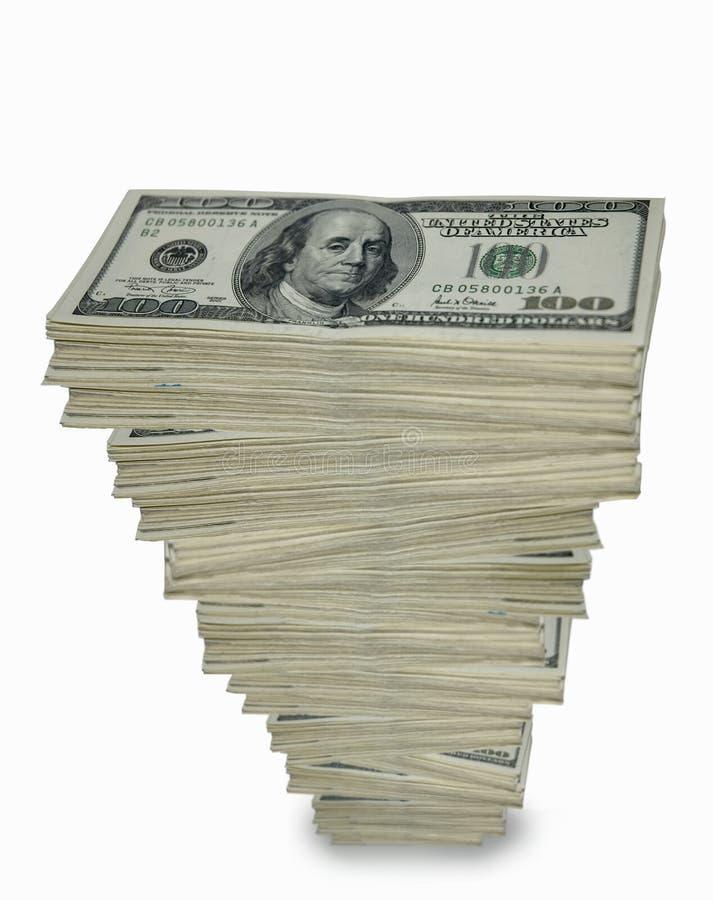Pila torreggiante di contanti. fotografia stock