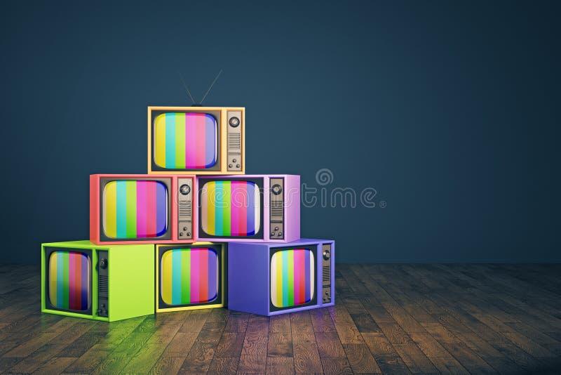 Pila vieja del arco iris TV ilustración del vector