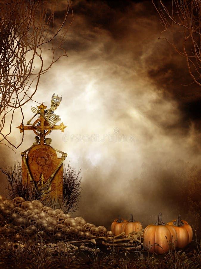 Pila y calabazas fantasmagóricas del cráneo libre illustration