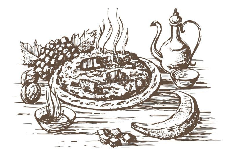 Pilaf orientała kuchnia ilustracji