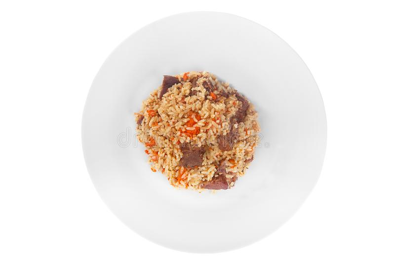Pilaf, rice with meat, beef, lamb white isolated royalty free stock photo