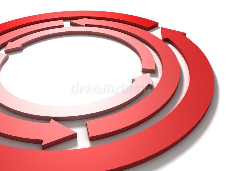 pilar cirklar arbete för det röda laget för begreppscirkuleringen vitt vektor illustrationer
