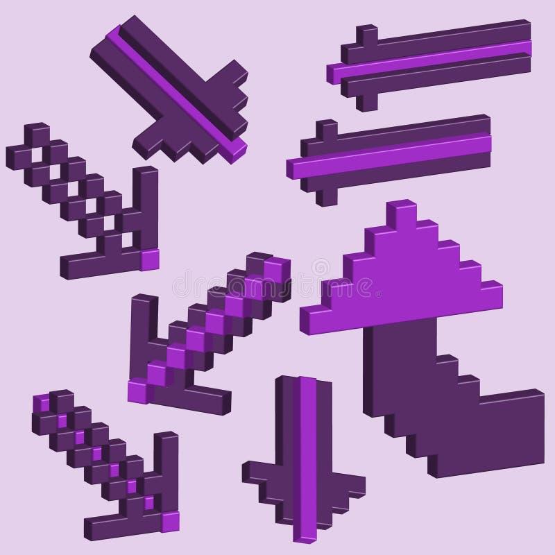pilar 3D av PIXEL. Vektor royaltyfri illustrationer
