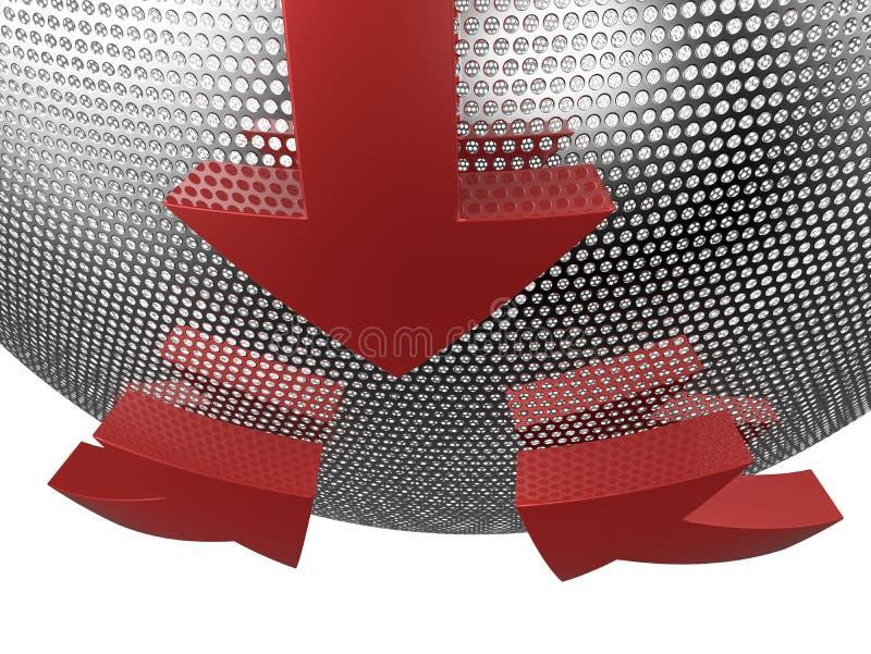 pilar 3D på ingreppssfär stock illustrationer