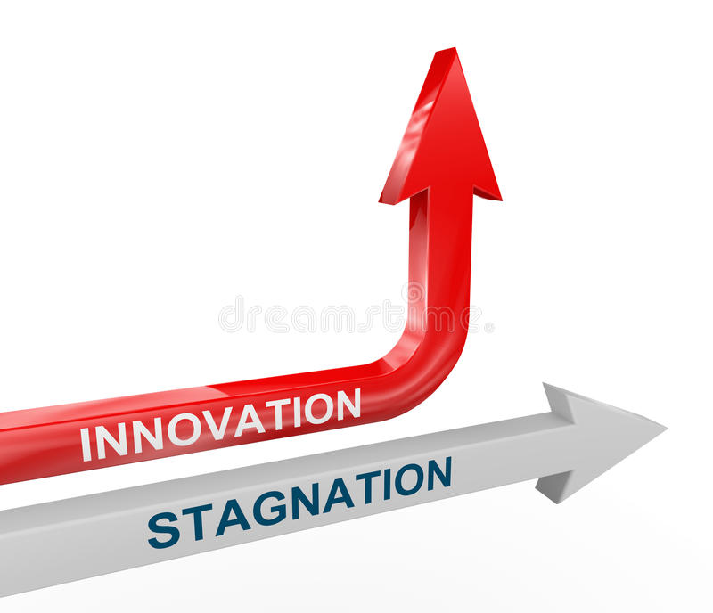pilar för stagnation 3d och innovation royaltyfri illustrationer