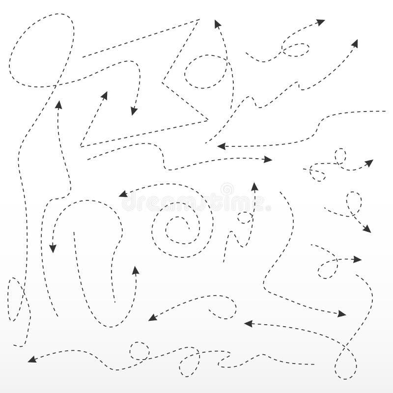 Pilar och riktningstecken Prickig pil Vektorpilar på vit bakgrund stock illustrationer
