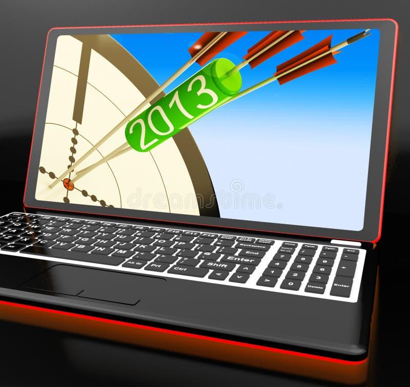 2013 pilar på siktade plan för bärbar dator shower royaltyfri illustrationer