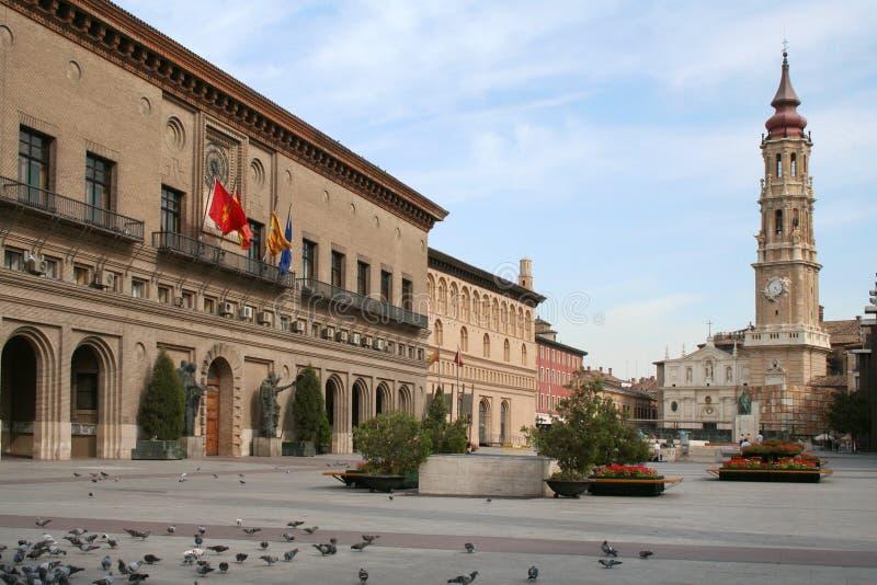 Pilar square in Zaragoza (Spain). royalty free stock photography